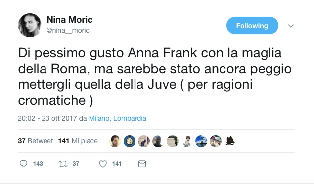 Il tweet di Nina Moric su Anna Frank