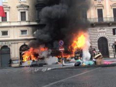 Autobus Atac di Roma in fiamme