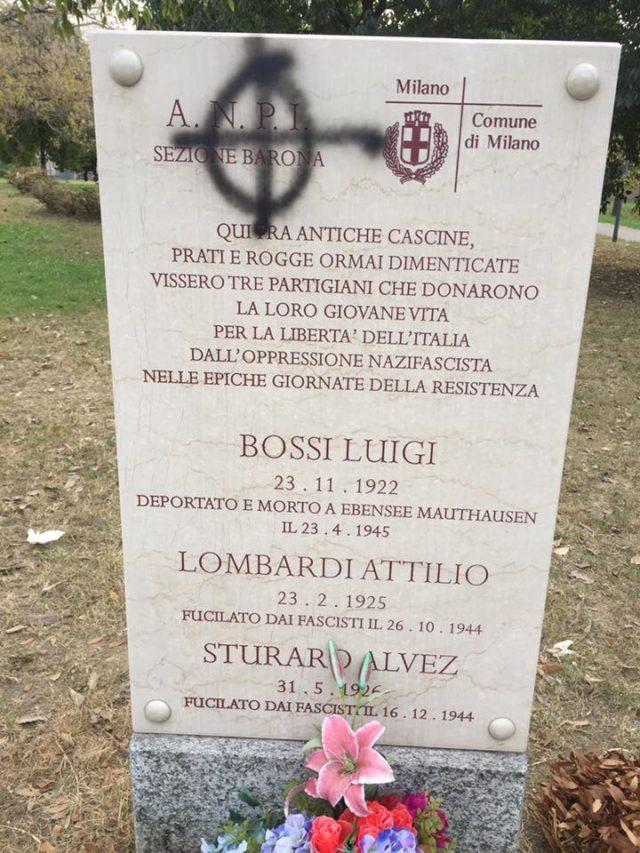Croce celtica sulla lapide partigiana a Milano